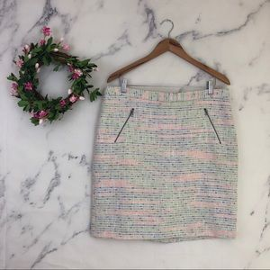 Halogen Neon Multicolored Tweed Pencil Skirt